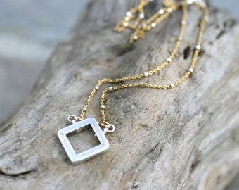 Square Sterling Silver Pendant Necklace, 14KT Gold Filled, Sterling Silver Mixed Metal Satellite Chain Necklace, Geometric Modern Necklace
