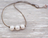 white freshwater pearl knotted handspun rope necklace / waterproof / kid-proof / life-proof / island jewelry / minimalist beauty / tula blue