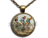 ON SALE - Rooster Bicycle VIntage Glass Dome Pendant or with Chain Link Necklace  AN198