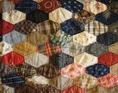 Vintage Quilt Piece   Old Quilt Piece   Antique Quilt Piece   Cutter Quilt Piece   21 x 35