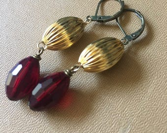 Balloon Gold Red Vintage Repurposed Earrings Jewelry