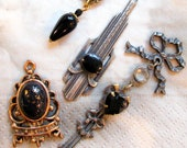 Banana Bob Findings - Vintage All One of a Kind Silver Ox and Black, Bronze and Black - 4 Pendants