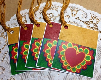 Colorful Hearts Gift Tags Set of Five Lunchbox Love Notes Handmade Bright Birthday Party Favors
