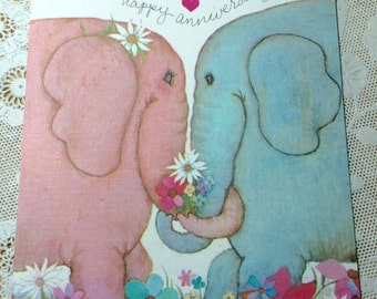 Vintage Anniversary Greeting Card 1980s 1970s 1960s Elephants Hearts Flowers Daisy Scrapbooking Paper Ephemera Collage Altered Art Love Wed