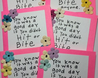 I Didn't Hit or Bite Daily Humor Gift Cards Set of Six Flowers Laugh Funny Comedy Comedian Hello Lunchbox Love Notes Glitter Glue Friendship
