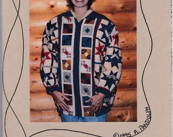 Log Cabin Star Quilted Jacket Uncut Pattern Free US Shipping 1995 S ~ L