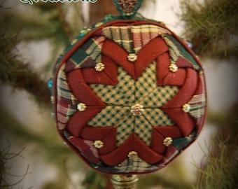 Handmade Quilted & Beaded Christmas Ball Ornament Green Burgundy