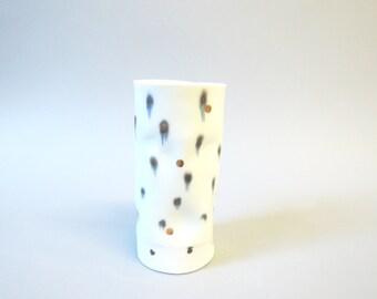 Gold polka porcelain tumbler/vase