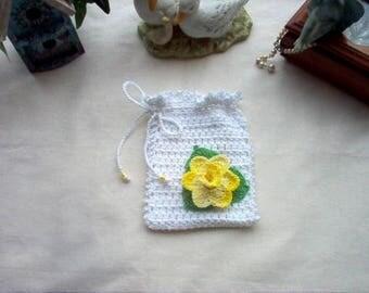 Daffodil Gift Bag/Sachet Crochet Lace Thread Art