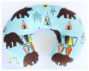 NURSING PILLOW SLIPCOVER/ Kodiak Bear on aqua, soft minky print / Great baby shower gift / Boppy slipcover / Gender neutral nursery