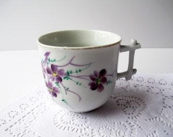 Vintage Violet Purple Mustache Cup Floral