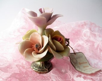 Vintage Capodimonte Italian Porcelain Flowers and Silverplate Base