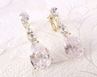 Vintage Glam Bridal Clipon Earrings for 1920s Wedding with Crystal and CZ Drops 1920s Art Deco Prom Gold Plated Clip Ons