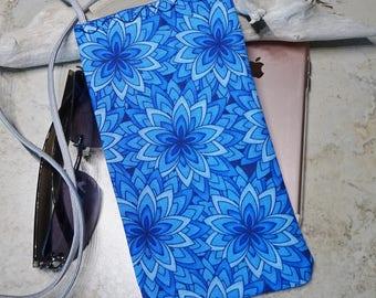 Necklace Purse, Extra Pocket Bag, Eyeglass Case, Cell Phone Sleeve,Corded Necklace Bag,Blue Fabric Bag, Boho,Kaleidoscope Blue Fabric