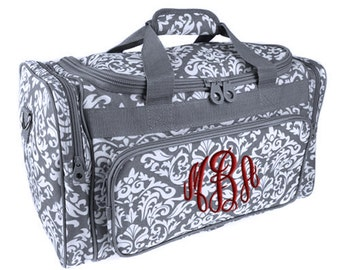 Personalized Duffle Bag Gray White Damask Monogram Grey Ballet Dance Travel