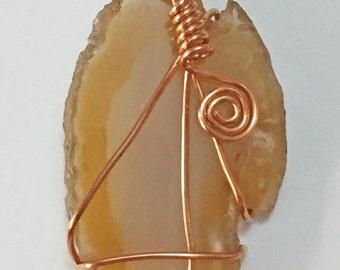 DragonEmbroidery's Natural Brazilian Agate Stone Slice and Copper Wire Wrapped Pendant