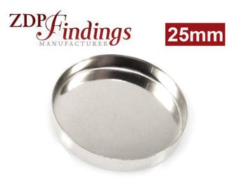 4pcs x Round 25mm Bezel Cups Setting,Sterling Silver 925 (RD250)