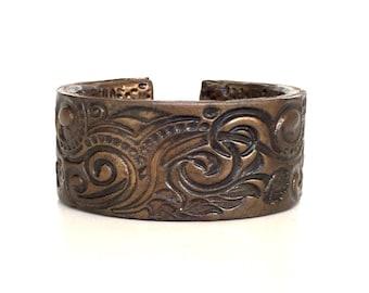 Bronze Cuff Bracelet, Cuff Bracelet, Hippie Jewelry, Polymer Clay Jewelry, Polymer Clay Bracelet, Distressed Bracelet, Ethnic Jewelry