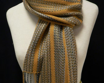 Handwoven Rayon Variegated Twill Striped Gold Scarf