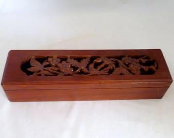 "Chopsticks case with rests, Handcarved wooden box, 5 pairs wood chopsticks, 5 tiger eye rests, deluxe chopstick set, wedding gift, 11""x3""x2"""