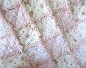 "40"" x 58"" custom quilt, pink shabby chic roses"