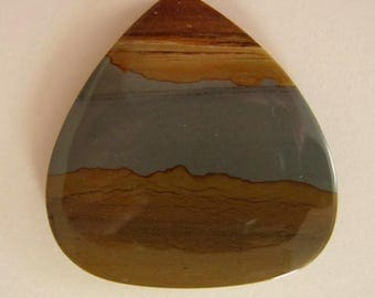 Large Oregon Picture Jasper cabochon. 50 x 50 mm. High sheen polish Large stone in browns, grey and beige tones. Heart shape stone. 125L0220