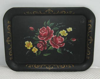 tole tray . Hand Painted Tole tray . red rose tole tray . tole tray . folk tray . folk tole tray