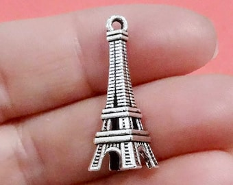 10, Eiffel Tower Charms (3D) 28x10mm Hole: 1-1.5mm