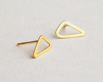 Triangle earrings, solid 14k gold earrings, 14k gold stud earrings, solid gold stud earrings