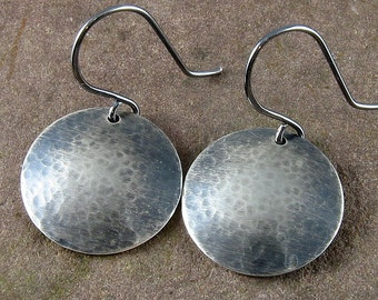 "Sterling Silver Earrings 3/4"" (19.05 mm)Hammered,Oxidized and Domed"