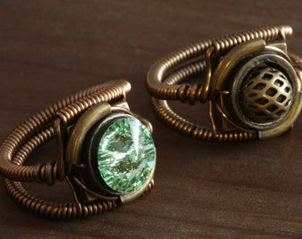 NEW Two steampunk rings - wooden box included - Chrysolite swarovski crystal and antique bronze ring - 9th anniversary special sale