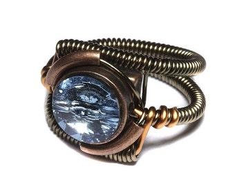 SALE 25% OFF - Steampunk Jewelry - RING - Aquamarine Blue Swarovski Crystal