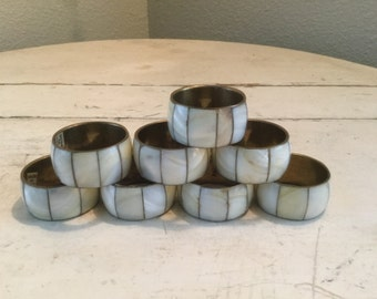 Napkin Rings Brass and Mother of Pearl Real Natural Shells Seashell for Seaside Decor Set of 8
