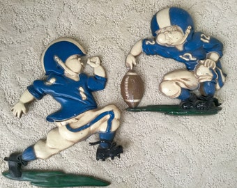 Vintage Wall Plaque Pair Hanging Homco Statuary Co Football Players for Boy's Room