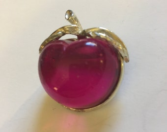 Sarah Coventry Hot Pink Jelly Belly Cherry Brooch