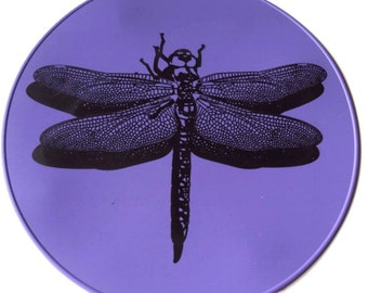 Round Purple Dragonfly Silicone Kitchen Trivet Kitchen Hot Pad Table Placemat Table Trivet