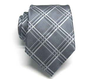 Mens Ties. Gray Silver Navy Blue Plaid Necktie With Matching Pocket Square Option