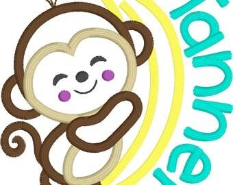 Sample Sale I pick fabric/colors Monkey - Monkeys  Appliqué shirts Embroidery 12 mo 18 mo 2t 3t 4t 5t 6 8