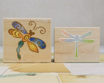 Wood Mounted Rubber Stamps, Dragonflies, Gently Used, 2 Pieces