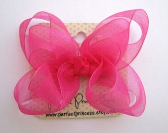 Medium Double Layer Loopy Style Organza Hair Bow in Bright Fuchsia Pink