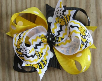 Yellow, Black, & White Bumblebee Triple Loop Grosgrain Hair Bow - Petite 3 inch Boutique Hairbow
