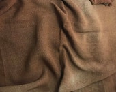 "Hand Dyed MAHOGANY BROWN Raw Silk Noil Poplin Gauze Fabric - 18""x22"""