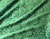 Emerald Green Roses - EMBOSSED Velvet Fabric  fat 1/4