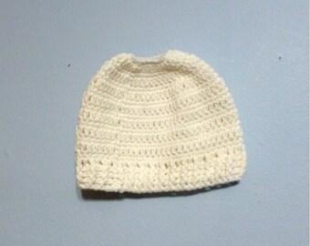 Messy Bun Hat Ponytail Hat Beanie Top Opening White