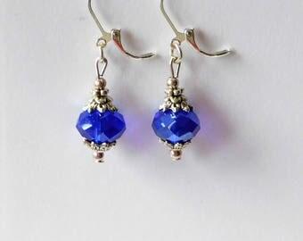 Ohrhänger facettierte Perle blau silber