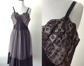 1950s Vintage Slip - 50s Black Lace and Nylon Swing Dress Slip