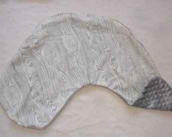Gray Wood Grain and Gray Minky Dot Pillow Cover Fits Dr Brown's Gia Pillow