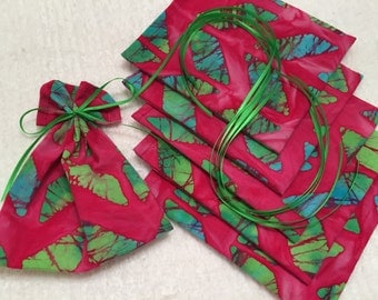 RESERVED FOR C46, African Print Mini Bags, Party Favor Bags, Fabric Gift Wrap, Ribbon Tied Pouch