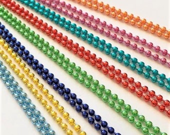 25 Colored  Ball Chains Necklaces 24 inches Blue Green Pink Purple 2.4mm Silver Copper Brass