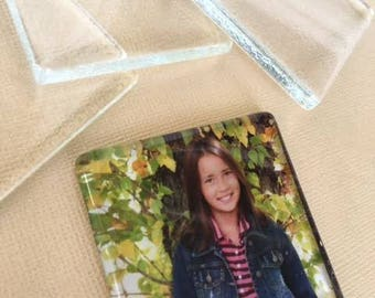 5 Clear Glass Squares  LARGE Keepsake  Photo Magnets Pendants 48mm 1 7/8 inch Easy to make
